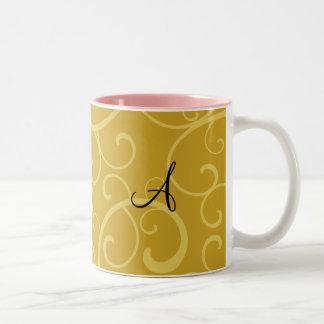 Monogram gold swirls coffee mugs