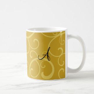 Monogram gold swirls coffee mug