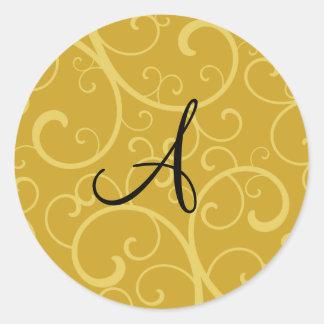 Monogram gold swirls round stickers