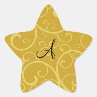 Monogram gold swirls star sticker