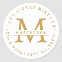 Monogram Gold Text Circular Return Address Label