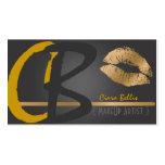 Monogram, gold tone lips business card