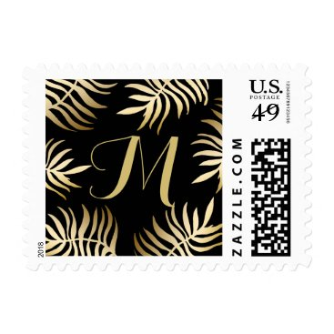 Beach Themed Monogram Gold Tropical Leaves Wedding Postage