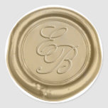 "Monogram Gold Wax Seal Wedding<br><div class=""desc"">Monogram Gold Wax Seal Wedding Stickers.</div>"