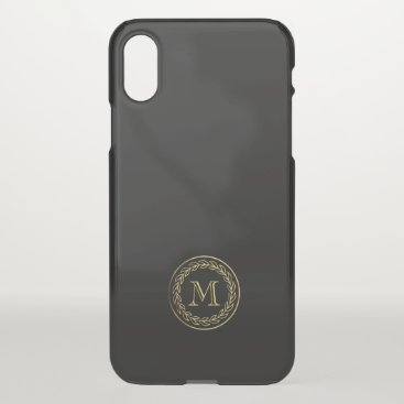 Beach Themed Monogram. Gold Wheat Laurel. iPhone X Case