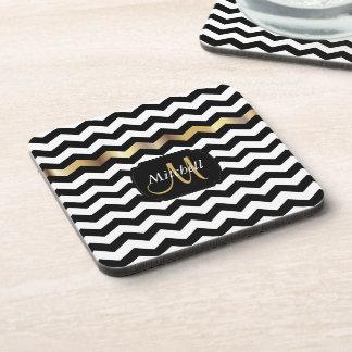 Monogram Gold, White & Black Chevron Beverage Coaster