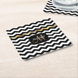 Monogram Gold, White & Black Chevron Square Paper Coaster