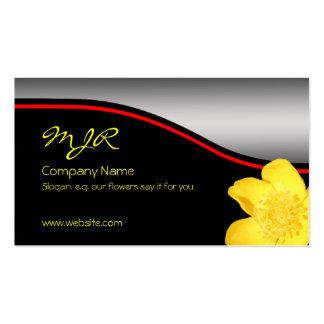 Monogram, Golden Buttercup, red swoosh, metal-look Business Card