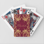 "Monogram Golden Damask on Dark Red Bicycle Playing Cards<br><div class=""desc"">Elegant and gentle golden damask on a dark red design with your monogram or initial and name in a center. It is a great gift for any occasion. If you want your initials printed on the design, please send me a message! I do offer customization, so please message me with...</div>"
