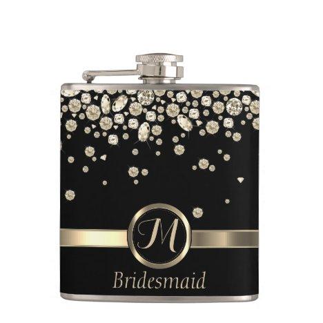 Monogram Golden Diamond - Bridesmaid Flask