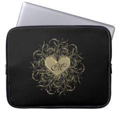Monogram Golden Heart on Black Laptop Bag Laptop Sleeves