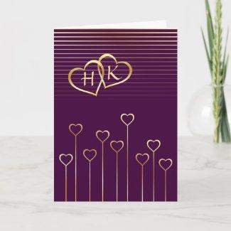 Monogram Golden Heart Valentine Card card