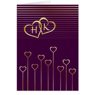 Monogram Golden Heart Valentine Card