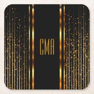 Monogram Golden Light Shower Square Paper Coaster