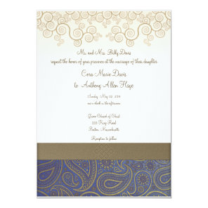 Monogram Golden Paisley on Blue Wedding Invitation