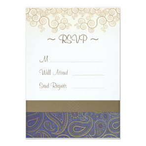 Monogram Golden Paisley on Blue Wedding RSVP Card