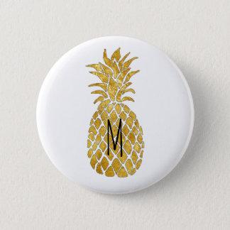 monogram golden pineapple button
