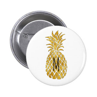 monogram golden pineapple button