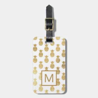 Monogram | Golden Pineapples Luggage Tag