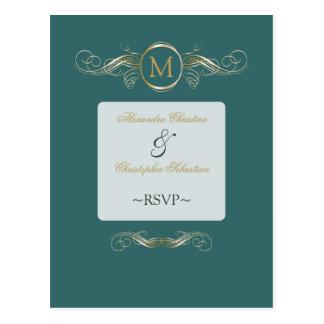 Monogram Golden Swirls Elegant Aqua RSVP Postcard