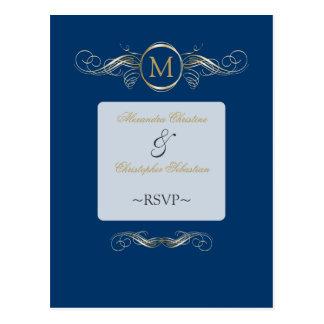 Monogram Golden Swirls Elegant Blue RSVP Postcard