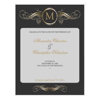 Monogram Golden Swirls Elegant Grey Save the Date Postcard