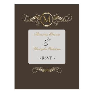 Monogram Golden Swirls Elegant Taupe RSVP Postcard