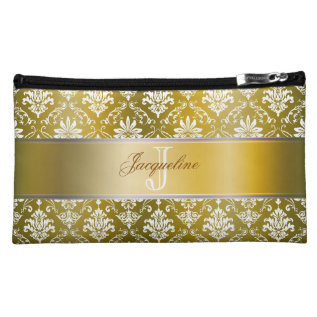 Monogram Golden Yellow And White Damask Cosmetic Bag at Zazzle