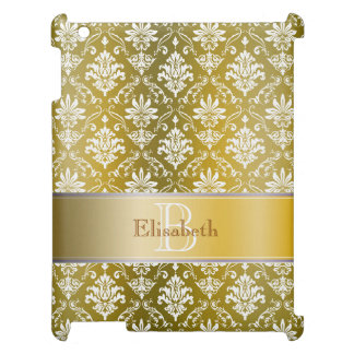 Monogram Golden Yellow and White Damask Cover For The iPad 2 3 4