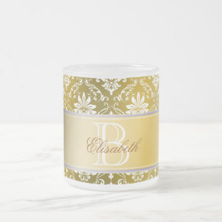 Monogram Golden Yellow and White Damask Frosted Glass Coffee Mug