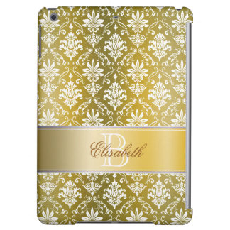 Monogram Golden Yellow and White Damask iPad Air Cases
