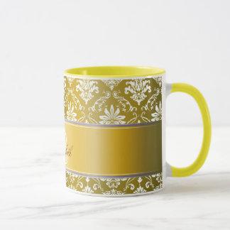 Monogram Golden Yellow and White Damask Mug