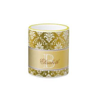 Monogram Golden Yellow and White Damask Ringer Coffee Mug