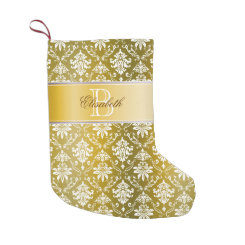 Monogram Golden/Yellow Damask Small Christmas Stocking