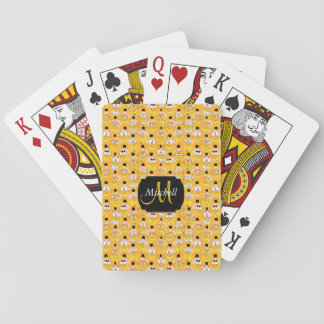 Monogram Golden Yellow Emoji Smiley Design Playing Cards