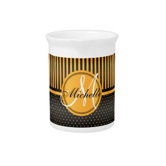 Monogram Golden Yellow Polka Dots & Black Stripes Pitcher