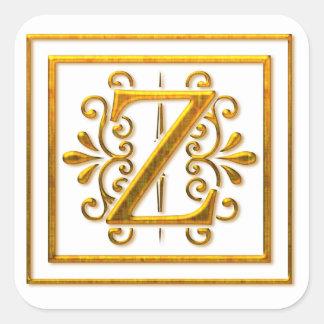 Monogram Golden Z Elegant Stickers