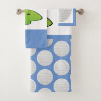 Monogram Golf Ball Bathroom Bath Towel Set