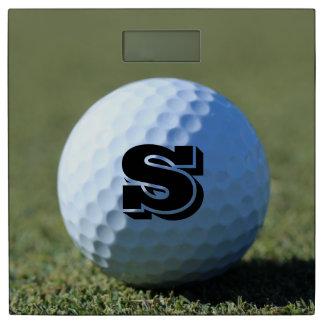 Monogram Golf Ball on Green close-up photo Bathroom Scale