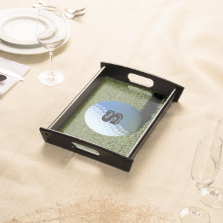 Monogram Golf Ball on Green close-up photo Serving Tray