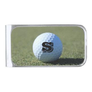 Monogram Golf Ball on Green close-up photo Silver Finish Money Clip