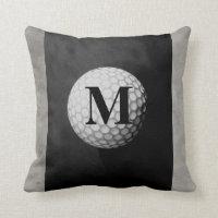 monogram golf ball pillow design distressed gray