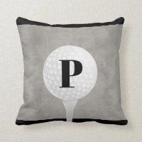 monogram golf ball pillow design distressed gray