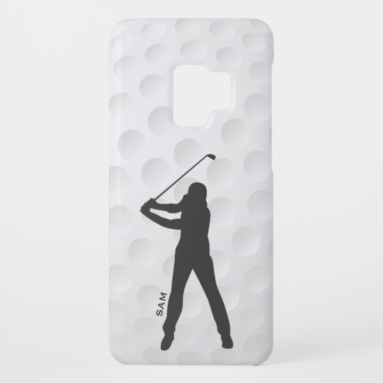 Monogram. Golfer Silhouette on Golf Ball Texture. Case-Mate Samsung Galaxy S9 Case