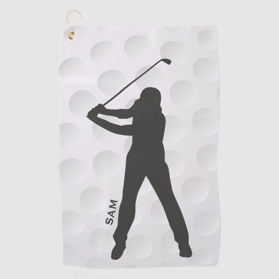 Monogram. Golfer Silhouette on Golf Ball Texture. Golf Towel