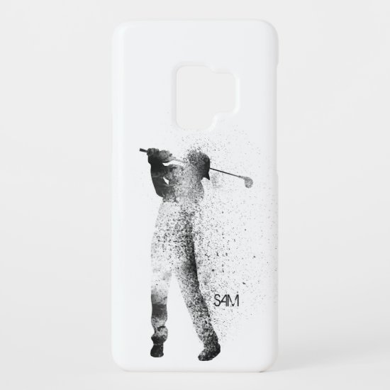 Monogram. Golfer Silhouette Swing. Case-Mate Samsung Galaxy S9 Case