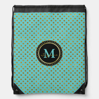 Monogram | Graphic Gold Aqua Polka Dots Drawstring Bag
