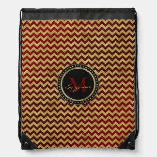 Monogram | Graphic Gold Dark Red Chevron Pattern Drawstring Bag