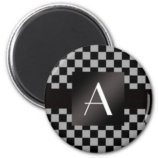 Monogram gray and black checkers 2 inch round magnet