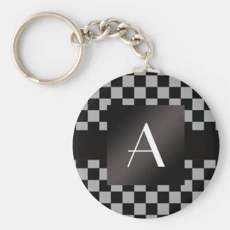 Monogram gray and black checkers basic round button keychain
